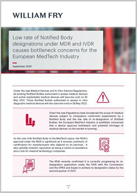 Low Rate of Notified Body Designations under MDR and IVDR Causes Bottleneck Concerns for the European MedTech Industry
